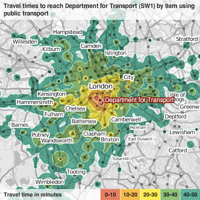 mySociety travel time map for SW1P 4DR